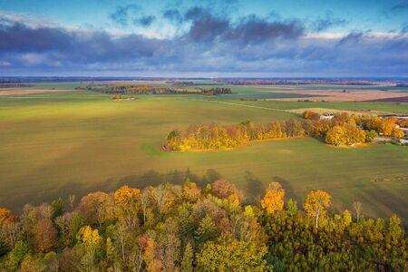 Countryside landscape in rainy autumn day, Tukums area, Latvia.