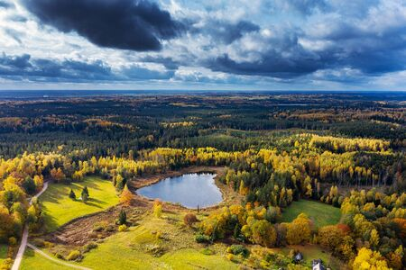 Autumn colors in countryside landscape.