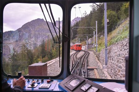 Montenvers train from Chamonix to Mer de Glace, French Alps.