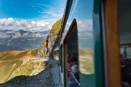 Mont Blanc Tramway in alpine landscape - highest rack railway train in France. Reklamní fotografie