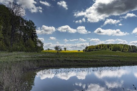 Spring landscape with pond and clouds.
