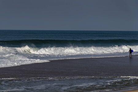 Atlantic ocean coast next to Nazare, Portugal.
