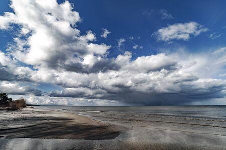 Cloud over gulf of Riga, Baltic sea.