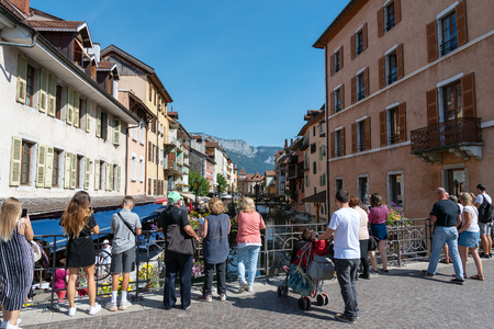 Thiou river in downtown of Annecy , France. Editorial