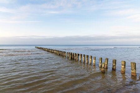 Old fishing boat pier at Baltic sea coast. Stok Fotoğraf