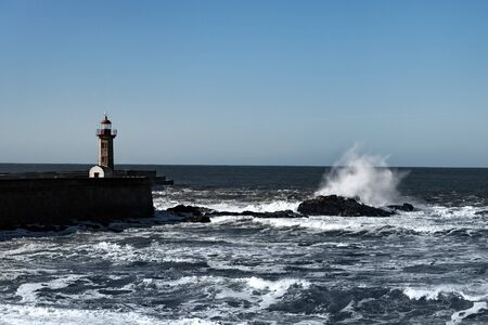 Lighthouses in Douru river mouth, Porto, Portugal. Stockfoto