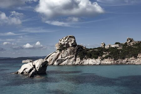 Granite coast of Mediterranean sea in Maddalena archipelago, Sardinia, Italy.