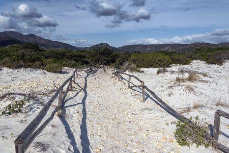Sardinia sandy landscape on La Cinta beach next to San Teodoro, Italy.