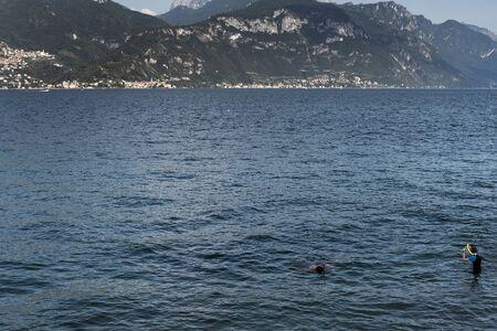 Hot summer morning by Como Lake, Italy.