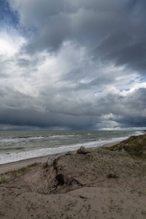 Dark clouds above stormy Baltic sea.