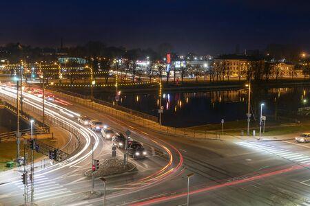 Intersection in evening, Liepaja, Latvia.