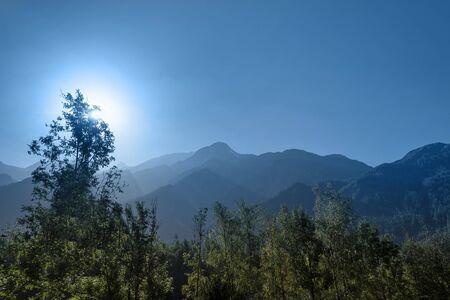 French Alps in Mont Blanc surroundings in blue. Reklamní fotografie
