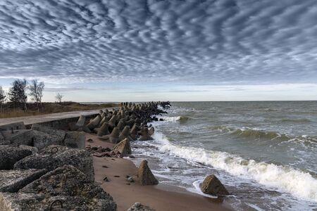 Liepaja port north mole in windy day.