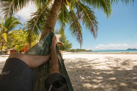 ko: Hammock on the beach Stock Photo