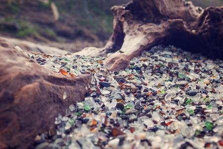 Beautiful pieces of glassy stones in glassy beach, California
