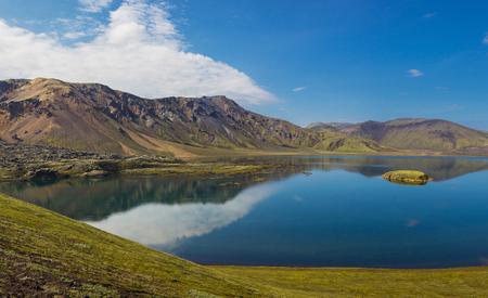 Beautiful lake in sunny day, Landmannalaugar, Iceland