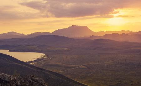 Beautiful sunset in mountains, Landmanalaugar, Iceland 版權商用圖片