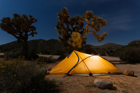 Lighten tent in Joshua Tree National Park, California
