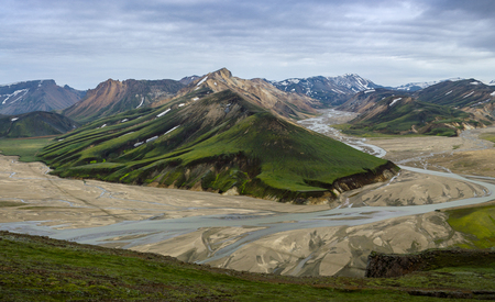 High colorful mountain ridge with flowing river in valley view from summit of Blahnakur mountain, Landmannalaugar, Iceland