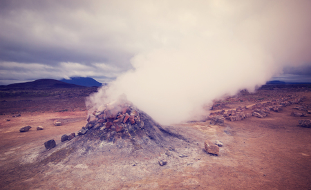 Devils view to steaming volcano in Namafjall, Iceland