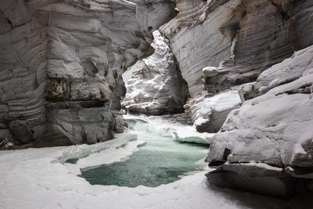 Frozen river in deep canyon, Banff National Park, Canada