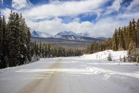 Snow on a snow covered mountain ridge, Banff National Park, Canada