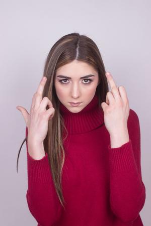 crazy young girl in bad mood Standard-Bild