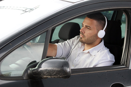music driver dangerous Stock Photo