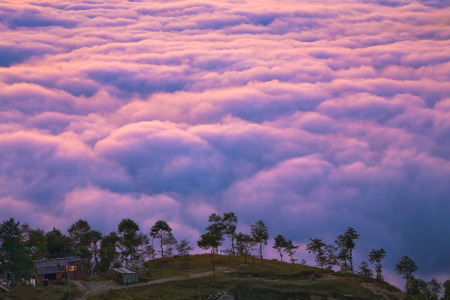 View on the Nagarkot Village 2100 m with the sea of clouds behind the hill.