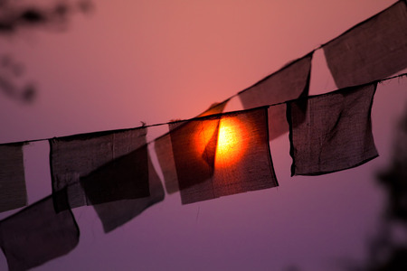 recently: Prayer buddhist flags with a recently risen sun behind them.