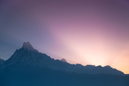 Sunrise above the Himalaya mountains.