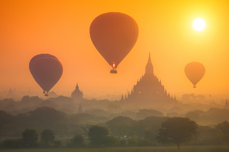 Hot air balloons over the ancient pagodas of the Old Bagan Myanmar.