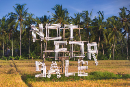 Not For Sale sign placed in the field. Sign with information showing land in the image is not for sale. Stock Photo