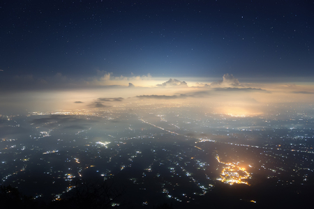 Indonesia, Bali island captured from the top of Agung volcano (3,142 m) in the night. Stock Photo