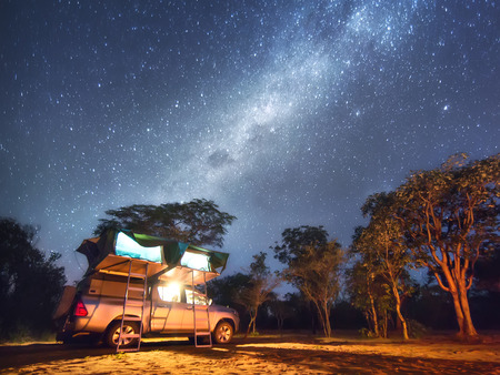 Namibia, camping nearby San People (Bushmen) village Banco de Imagens - 82872572