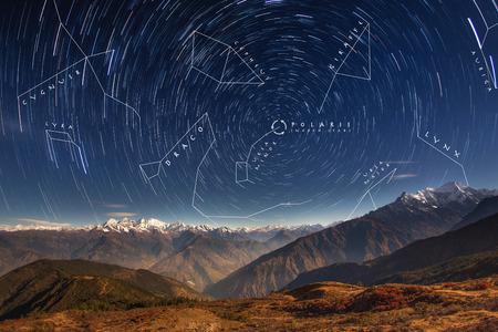 Noordelijk halfrond Circumpolaire sterrenbeelden boven de prachtige Himalaya. Nepal, regio Langtang, adembenemend Ganesh Himal-gebergte met de belangrijkste piek 7.429 m hoog. Stockfoto