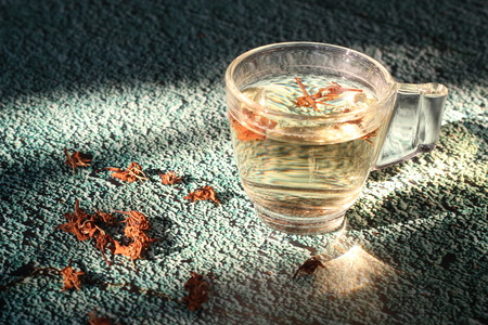 Coffee blossom tea in a clear glass amid the winter sunlight. Stock fotó