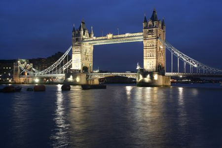 Tower Bridge in London in the evening with reflection photo