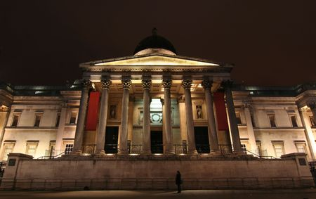 National Gallery in London at night Stock Photo