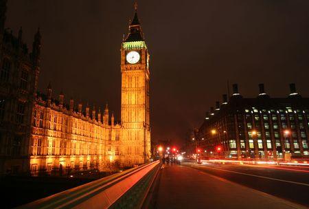 london big ben: London, Big Ben tower from Westminster bridge at night