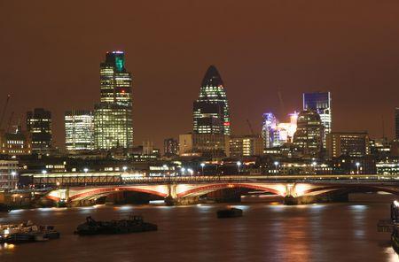 London City skyline at night Stock Photo
