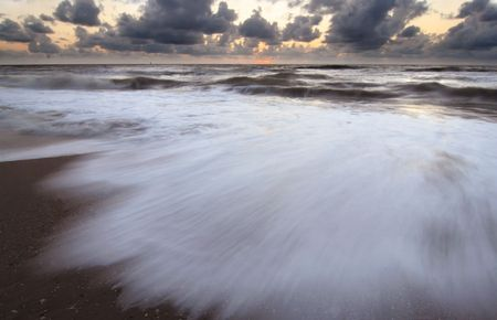 Evening at the beach, waves with motion blur Stock Photo - 3666114
