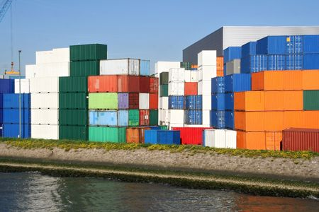 rotterdam: Containers in the port of Rotterdam Stock Photo