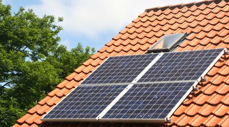 Solar panels on the roof of a private home
