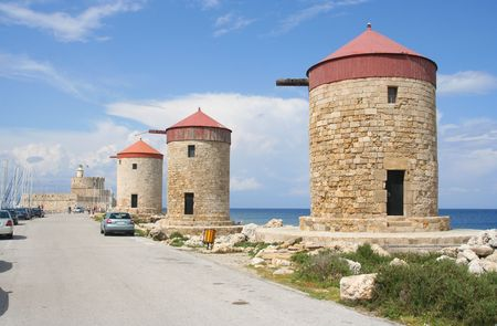 rhodes: The three famous stone mills of Rhodes, Greece