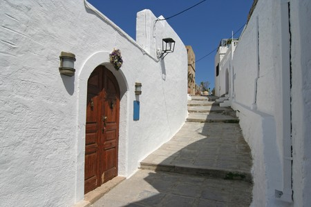 rhodes: Street in Lindos on Rhodes, Greece