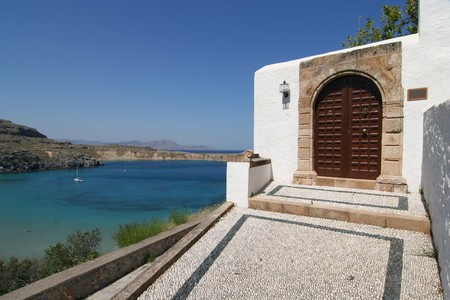 lindos: House in Lindos Bay Stock Photo