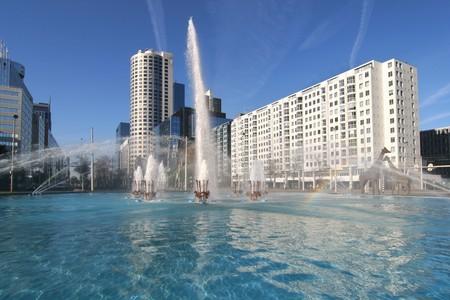 central square: Hofplein, piazza centrale con fontana in Rotterdam