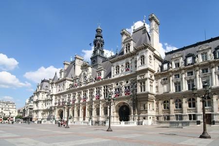 Hotel de Ville. City Hall of Paris Stock Photo