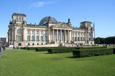 De Rijks dag gebouw in Berlijn: Duitse Parlement  Stockfoto